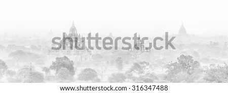 Temples of Bagan an ancient city located in the Mandalay Region of Burma, Myanmar, Asia. High key black and white image. - stock photo