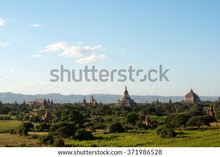 Temples of Bagan, Myanmar (Burma). - stock photo