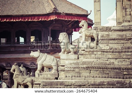 Temples of Durbar Square in Bhaktapur, Kathmandu, Nepal. - stock photo