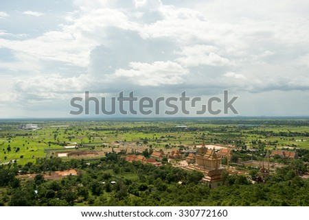 Temples seen from Oudong Mountain in Cambodia