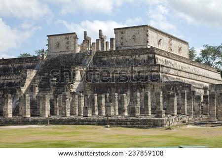 Templo de los Guerreros, Temple of the Warriors at Chichen Itza, Yucatan, Mexico - stock photo