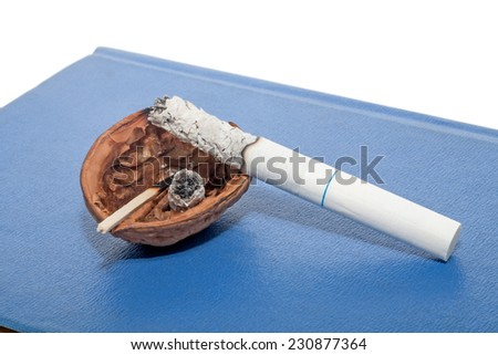 Temporary ashtray with cigarette smoking. Stop smoking concept.  - stock photo