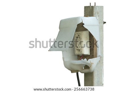 temporary of electrical outlet, on white background - stock photo