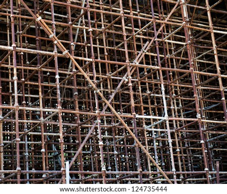 Temporary scaffold for construction works. - stock photo