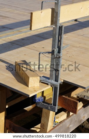 Temporary wood forms, safety handrails