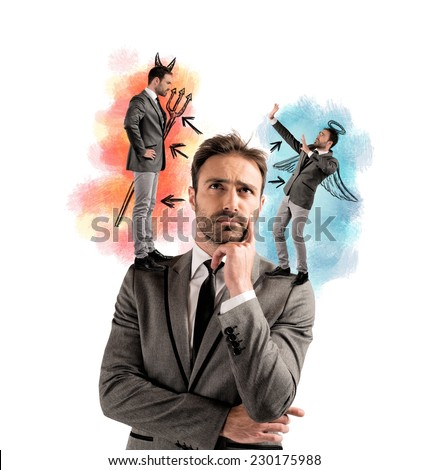 Temptation of a businessman with angel and devil - stock photo
