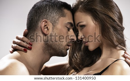 Temptiting couple - stock photo