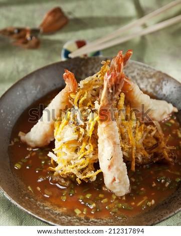Tempura Fried shrimp in sauce Japanese style - stock photo