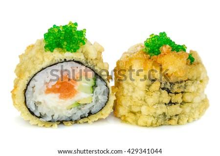 Tempura hot fried sushi maki - stock photo