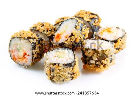 Tempura roll with salmon and avocado, over white, eight pieces - stock photo