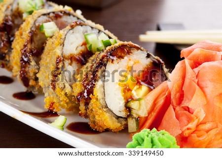Tempura rolls. Traditional japanese food. - stock photo