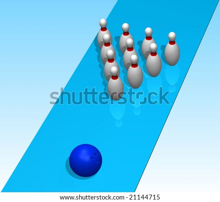 Ten bowling pins with reflection on a blue background