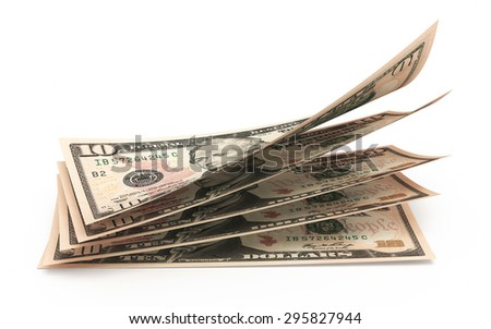 Ten dollar banknotes stacks close-up (isolated and clipping path) - stock photo