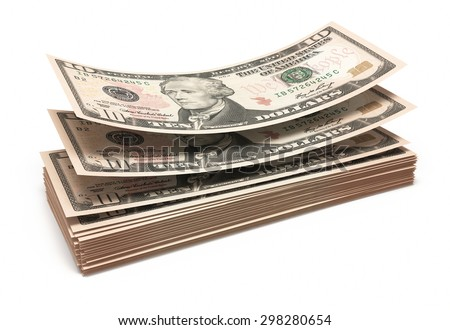 Ten dollar banknotes stacks (isolated and clipping path) - stock photo
