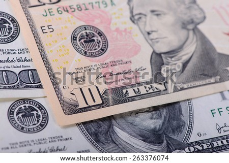 ten dollars banknotes as a background close-up - stock photo