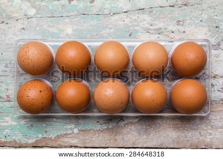 Ten eggs top view - stock photo
