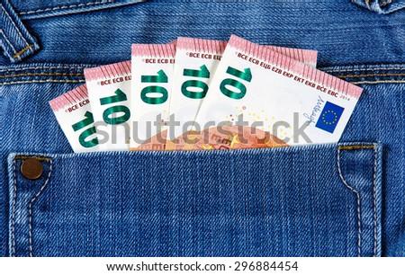 Ten Euro Bank Banknote in the pocket of jeans. European Union. Background, Texture   - stock photo