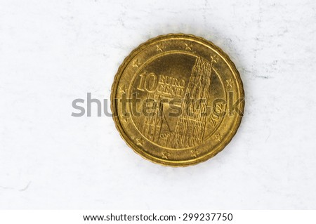 ten Euro cent Coin with Austria backside used look - stock photo