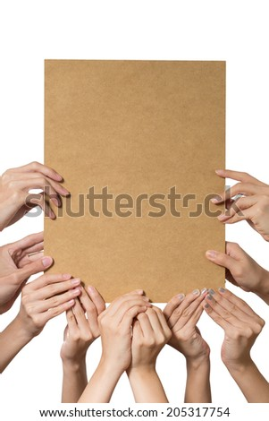 Ten female hands holding up a blank card with space for your own copy. - stock photo