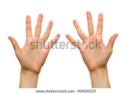 Ten fingers of female hands. Isolated over white.