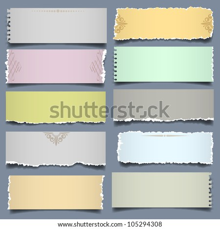Ten notes paper in pastel colors. Raster version - stock photo