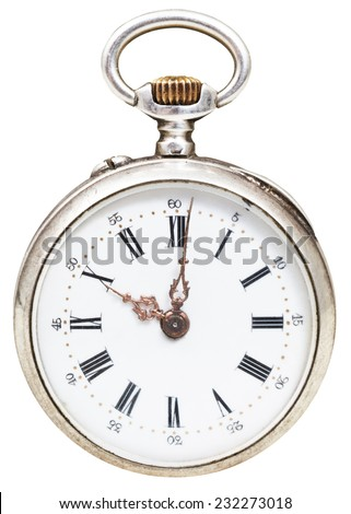 ten o'clock on the dial of retro pocket watch isolated on white background