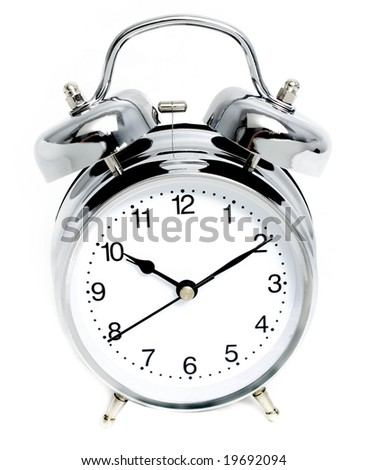 ten past ten on an Alarm Clock with a white face