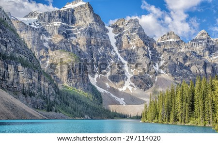 Ten Peaks and Moraine Lake in Banff National Park, Canada - stock photo