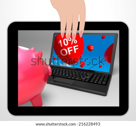 Ten Percent Off Laptop Displaying Online Sale And Bargains