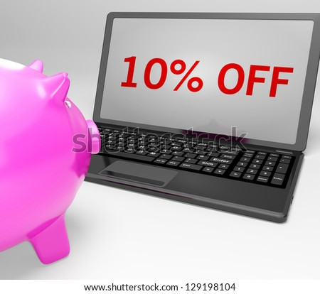 Ten Percent Off On Notebook Showing Small Prices And Discounts