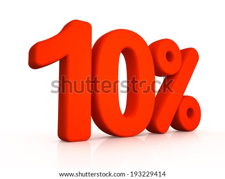Ten percent symbol on white background 3D - stock photo