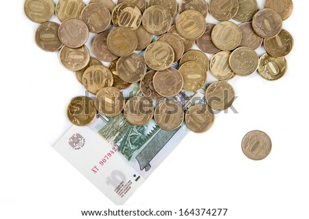 ten-ruble coins on a white background