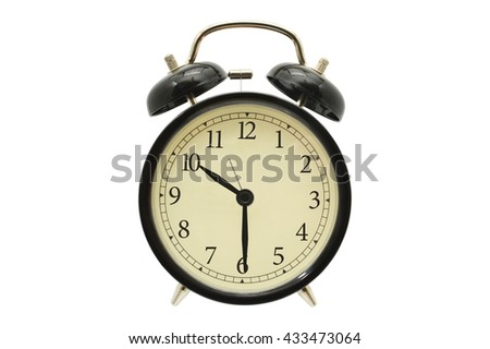 Ten Thirty Black Alarm Clock isolated on white background