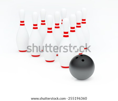Ten white bowling skittles in triangle and black ball - stock photo