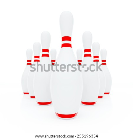 Ten white skittles for bowling in triangle - stock photo
