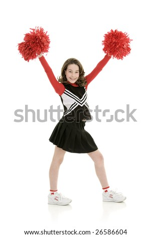 Ten year old caucasian girl dressed as a red cheerleader outfit isolated on a white background