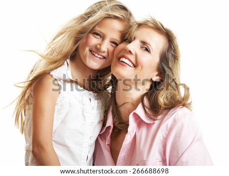 Ten year old caucasian girl with her mother.
