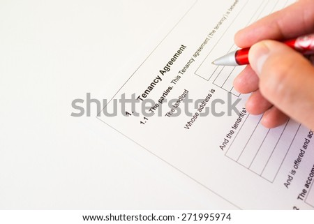 Tenancy agreement document for signing - stock photo