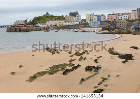 Tenby Pembrokeshire Wales, medieval walled fishing town on west side of Carmarthen Bay with great beaches and history. In Welsh known as Dinbych-y-pysgod. - stock photo