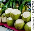 Tender and Fresh Coconut in the market - stock photo