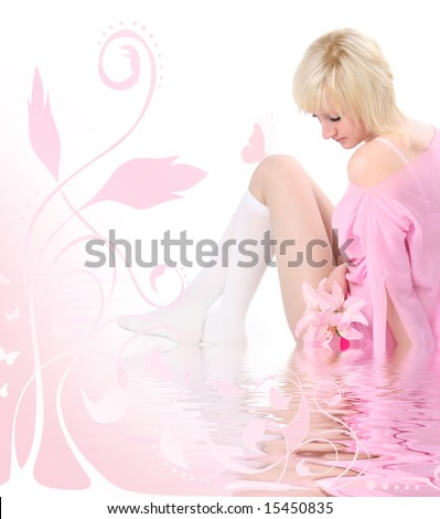 tender blond girl with lilly - stock photo