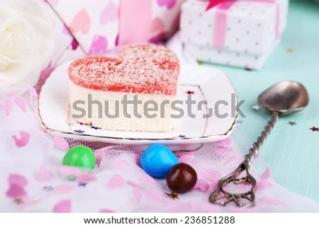 Tender cake on birthday table close-up - stock photo