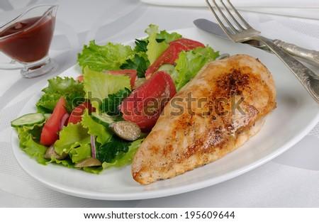 Tender Chicken Schnitzel With Vegetable Garnish