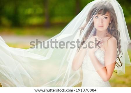 Tender portrait of a beautiful bride under a veil. - stock photo