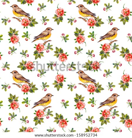 Tender romantic vintage seamless background with birds in roses - stock photo