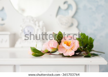 Tender tea rose on beautiful white dressing table - stock photo