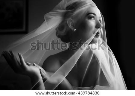 Tender veil coveres bride's face and hands - stock photo