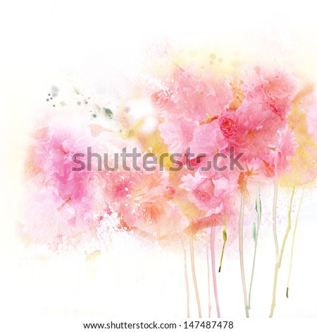 Tender watercolor background - stock photo