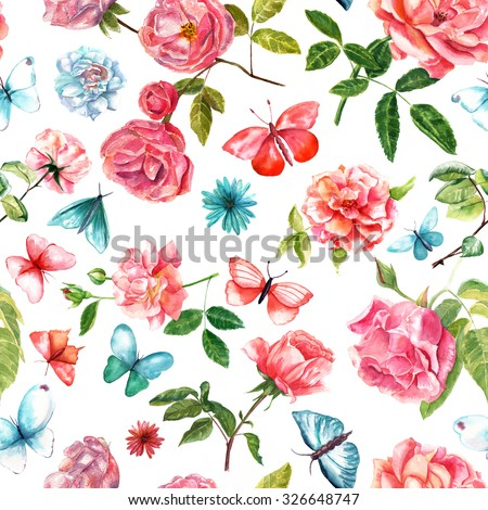 Tender watercolor red roses and teal butterflies seamless background pattern