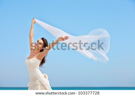 tender young bride against the blue sky and ocean. she keeps at hands waving in the wind veil - stock photo